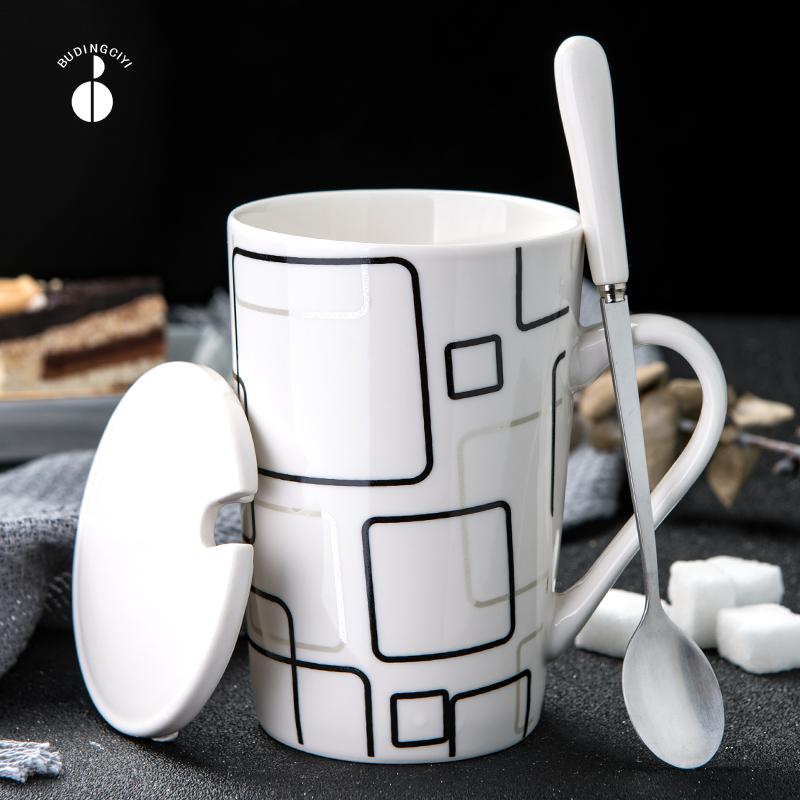创意陶瓷杯子简约水杯家用大容量马克杯带盖勺个性潮流咖啡杯茶杯