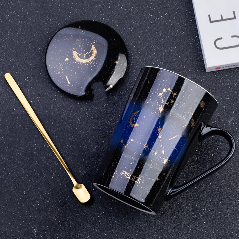 星座杯子创意陶瓷水杯个性带盖勺马克杯潮流学生咖啡杯大容量茶杯