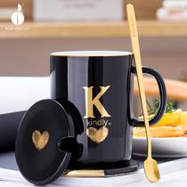 创意陶瓷杯子姓氏字母马克杯个性潮流咖啡杯带盖勺女水杯家用茶杯