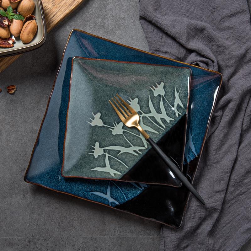 创意复古日式餐具个性釉下彩手绘陶瓷盘家用10英寸菜盘水果盘平盘,可领取2元天猫优惠券