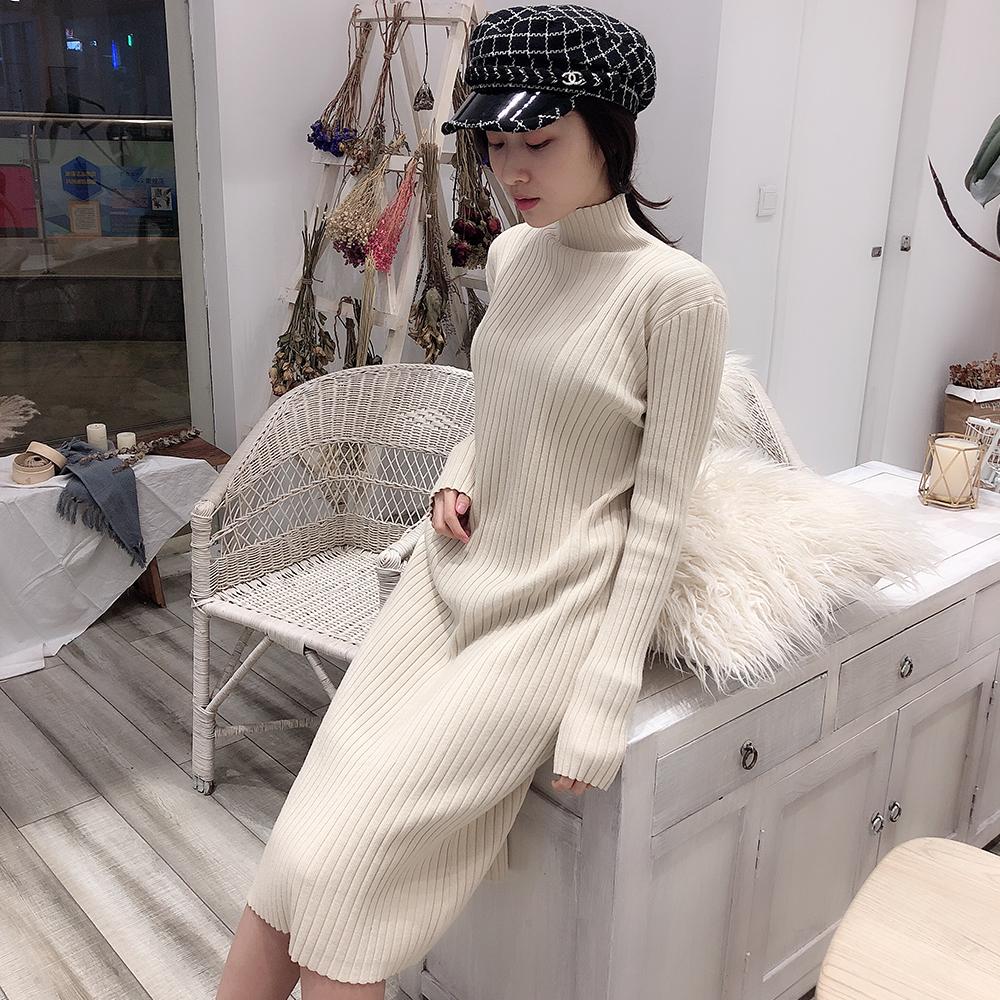 半高领针织连衣裙女秋冬季2019新款内搭黑色过膝打底加厚毛衣裙子