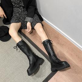小个子长靴不过膝中筒靴厚底增高马丁靴女黑色帅气英伦风骑士靴