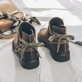 低跟复古chic薄款马丁靴2020春秋季平底系带短筒靴子女英伦风短靴