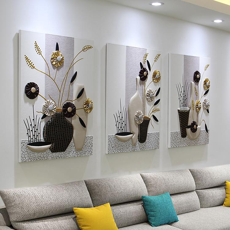 客廳裝飾畫三聯掛畫沙發背景墻壁畫現代簡約浮雕畫餐廳大氣無框畫