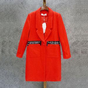彩系列大口袋中长直筒羊毛女呢大衣