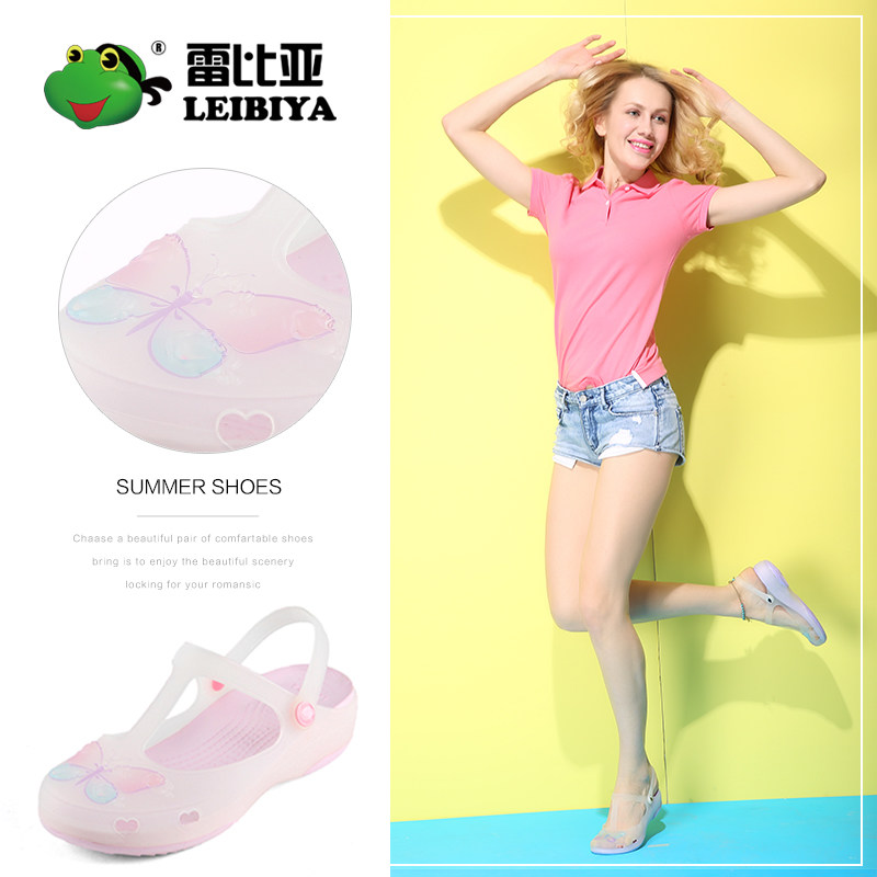 Leibia Dongdong shoes womens summer 2018 new Mary Jane soft sole middle heel jelly womens shoes beach slippers sandals