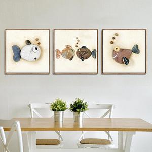 餐厅装饰画客厅鱼现代简约挂画卧室三联画沙发背景墙石头年年有余