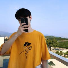 港风夏季短袖t恤男宽松五分半袖打底衫潮流学生上衣服 T102-P35
