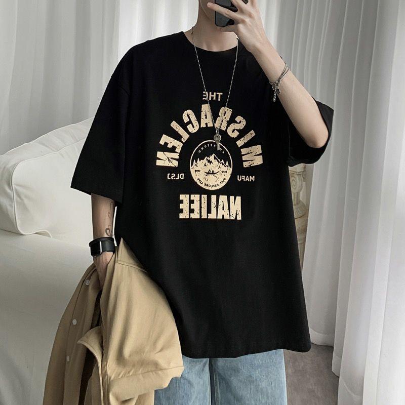 港风嘻哈夏季短袖t恤男潮牌休闲五分袖t恤衬学生宽松原宿半袖上衣
