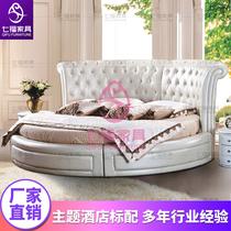 七福情趣家具床轻奢主题圆床2.2米酒店电动床宾馆水床情侣双人床