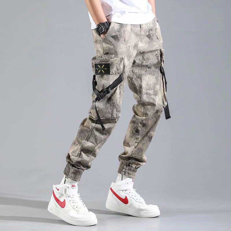 Spring and summer camouflage mens overalls, Korean fashion casual pants, student loose Capris, versatile mens pants