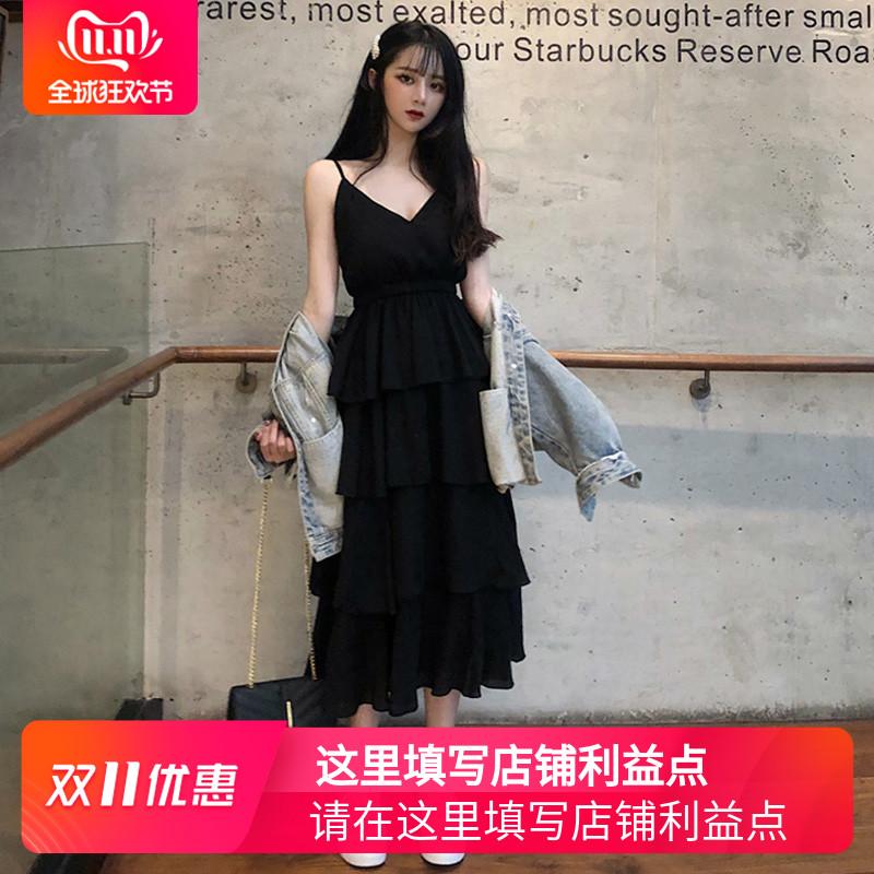 很仙的连衣裙夏款法国复古裙山本过膝吊带长裙仙女超仙森系蛋糕裙