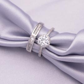 结婚戒指活口仿真一对婚礼代替用男女交换道具简约一克拉情侣对戒
