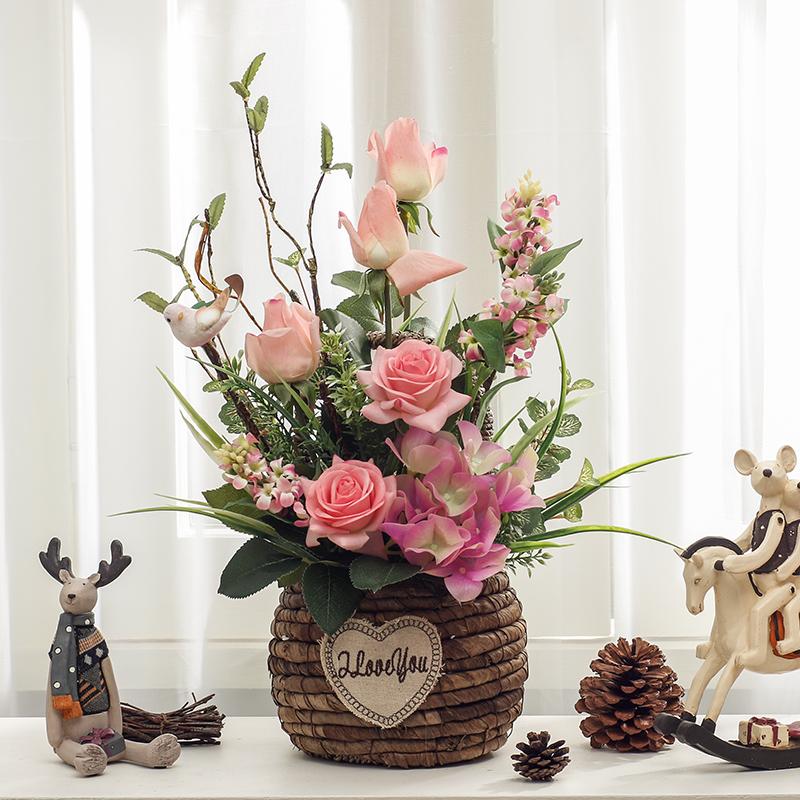 欧式客厅装饰盆栽假花摆件