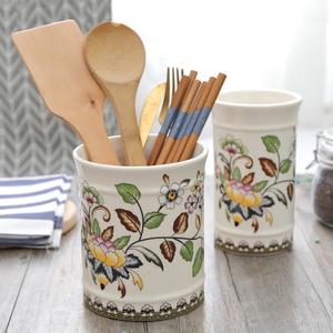 欧式陶瓷双筷子筒厨房用品勺子餐具收纳盒大口径沥水双筒筷笼包邮