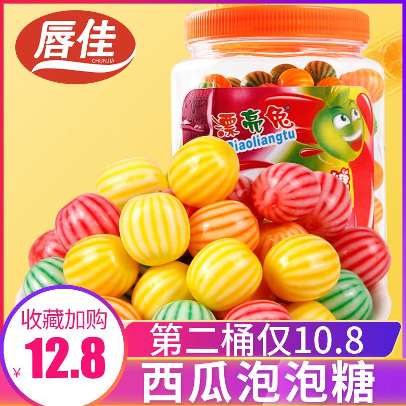 Beautiful rabbit watermelon bubble gum 8090 nostalgic candy 460g * 2 barrels, about 185 fruity chewing gum per barrel