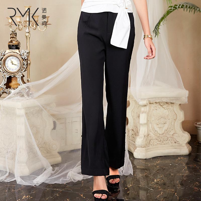 诺曼琦2020新款夏季裤子女薄款修身喇叭裤女黑色显瘦高腰休闲裤潮
