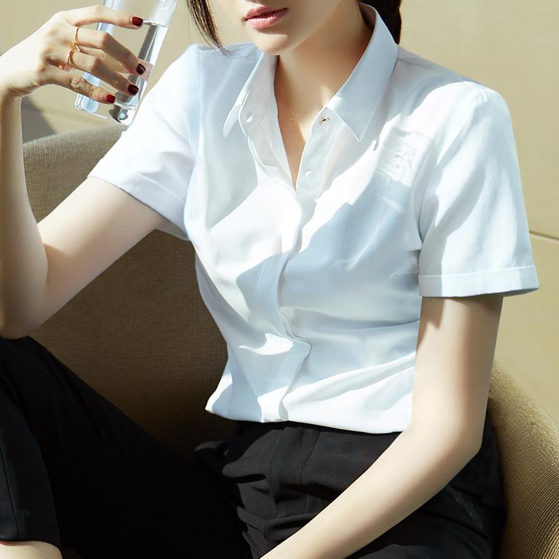 夏新品作服寸衣白色红韩版短袖装工2020修身衬衫女士黑蓝正职业