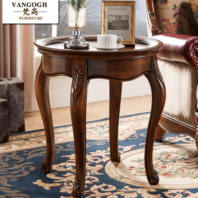 American style solid wood corner, living room sofa, European style leisure circle, small round table, retro dark tea table