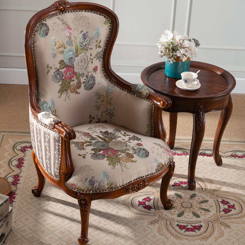 美式实木老虎椅客厅布艺单人沙发欧式小户型卧室沙发椅休闲靠背椅