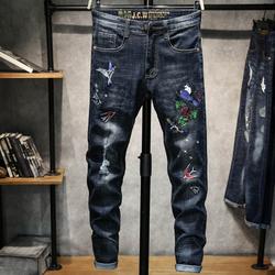 新款牛仔裤个性刺绣青年男士修身小脚裤绣花弹力长裤K237-P55