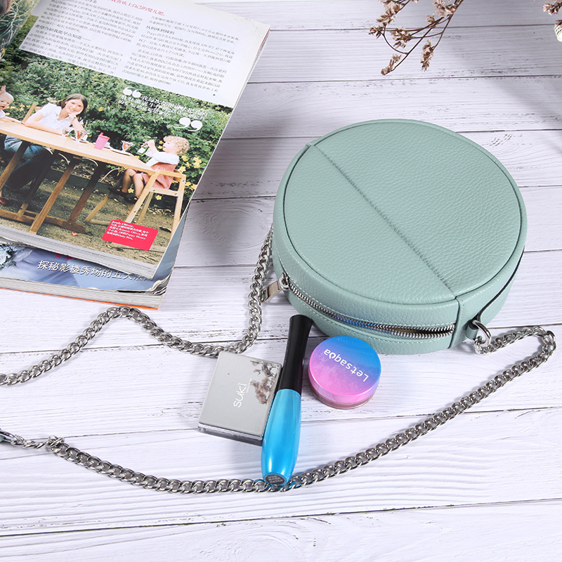 Chain bag female messenger small round bag small fragrance 2021 new leather simple one shoulder round bag