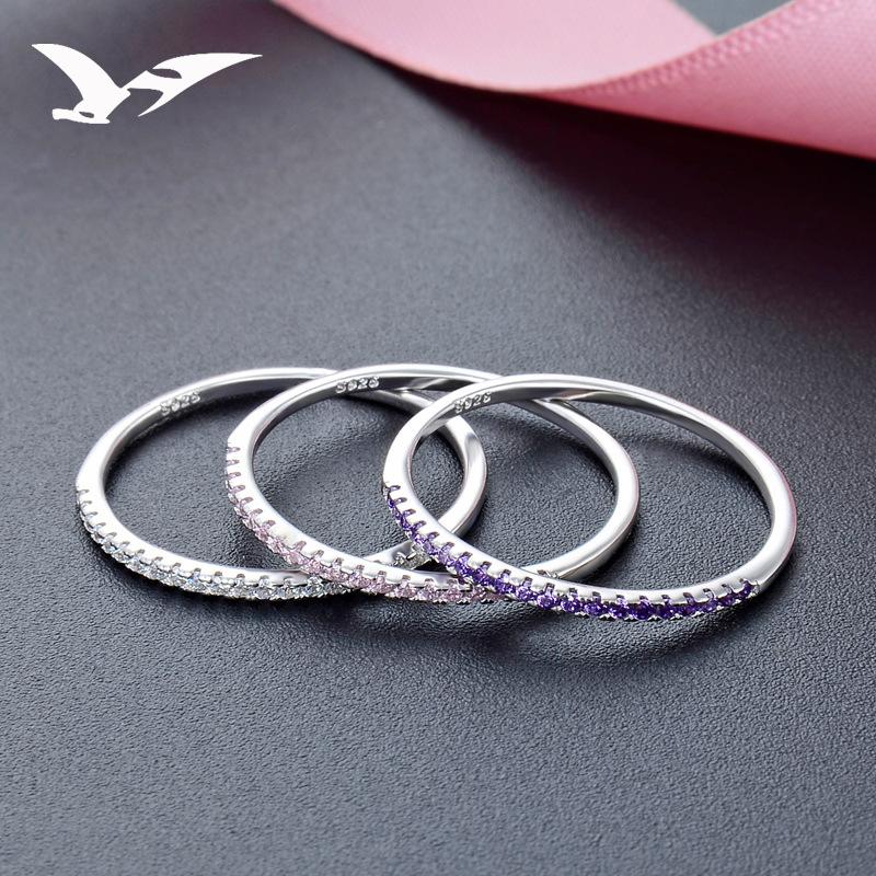 欧美流行首饰品 通体s925纯银纤细戒指 女生镶锆石组合指环