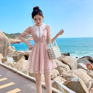 2020夏季新款气质甜美蕾丝显瘦修身小个子泡泡袖连衣裙时尚短裙