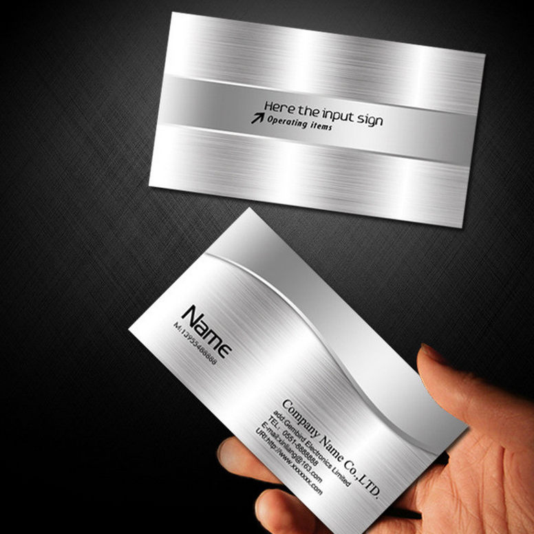 Drawing silver PVC business card high-end two-dimensional code making creative free design special silver waterproof printing template
