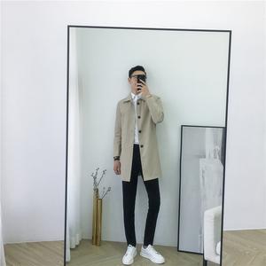 男装2020春季新款韩国简约中长款翻领卡其风衣男修身帅气潮流外套