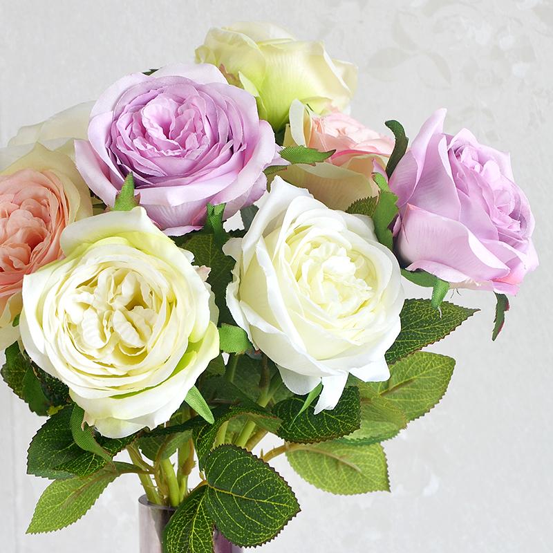 维多利亚玫瑰花仿真花单支绢花假花婚庆装饰花艺家居客厅摆设插花