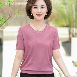 舒适妈妈夏季短袖T恤女薄款上衣洋气40岁50中年妇女冰丝针织小衫