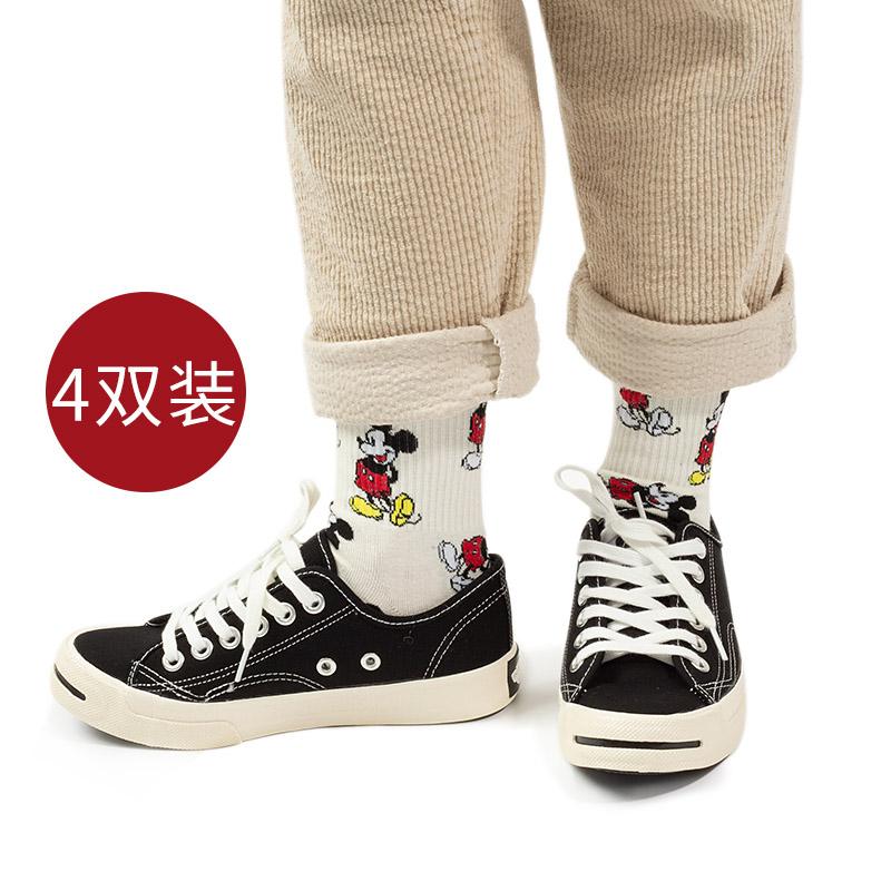 米奇袜子女中筒袜韩版ulzzang网红款米老鼠超火可爱卡通长筒ins潮