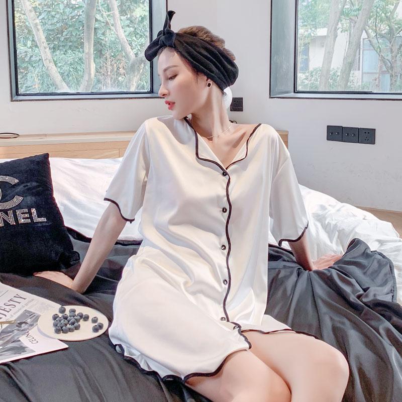 2021年新款性感睡裙女夏季冰丝薄款短袖长款高级感真丝绸私房睡衣