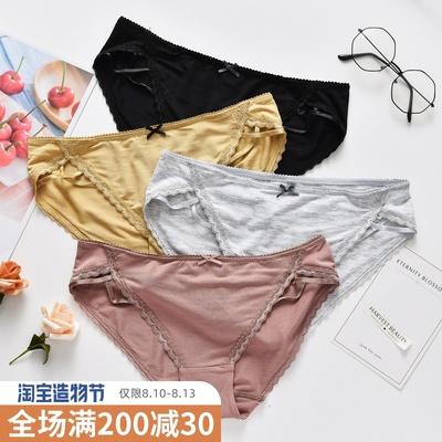 简约时尚短裤女士性感交叉镂空棉质纯色蝴蝶结蕾丝边学生三角内裤