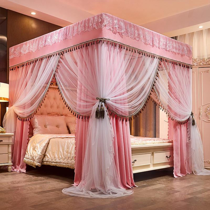 家用床帘避光一体式宫廷床幔蚊帐落地通用蚊帐1.8m米床不锈钢支架