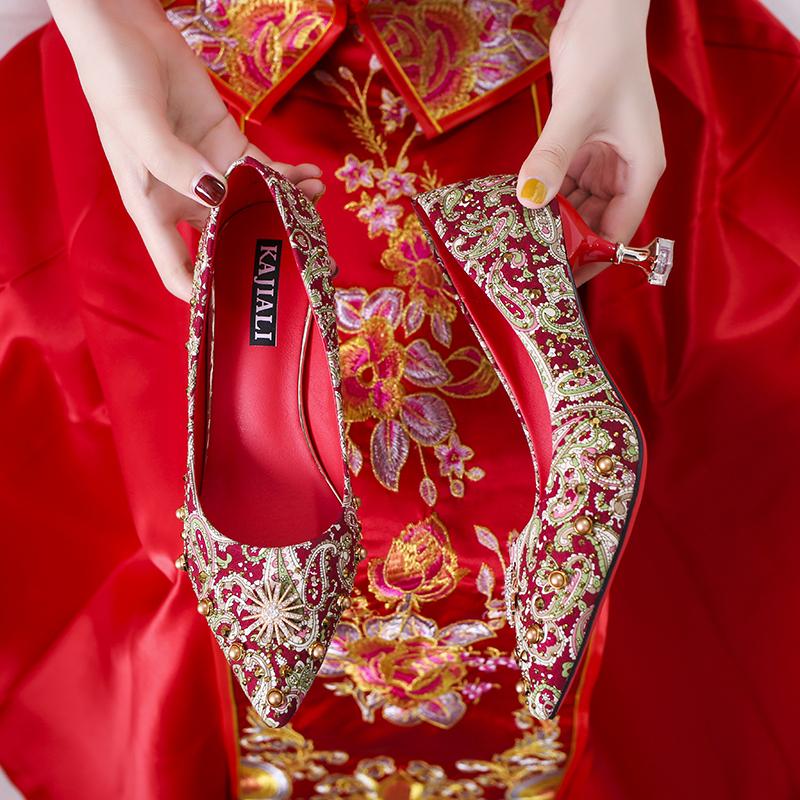 Wedding shoes female red high heels 2021 new versatile thin heel low heel pregnant woman bride shoes Xiuhe wedding shoes