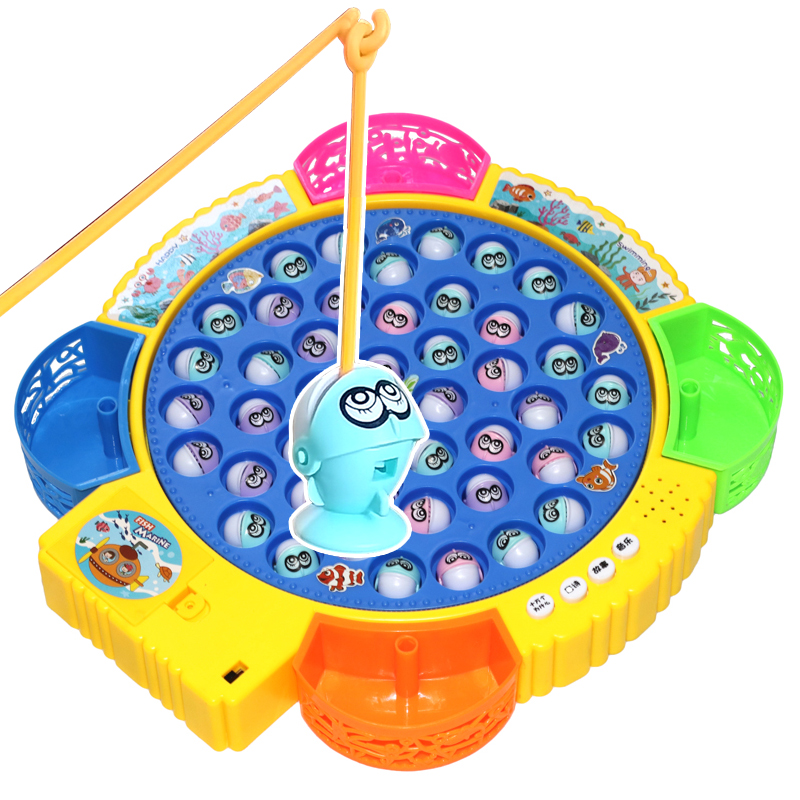 Childrens fishing toy electric rotary set baby benefit intelligence development 3-6 years old music parent-child interactive game