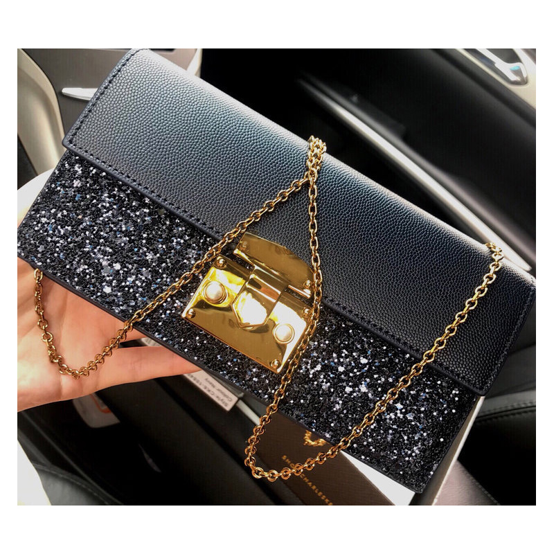 New single shoulder crossbar chain small CK multi card simple fashion womens bag star Sequin long Purse Hand Bag