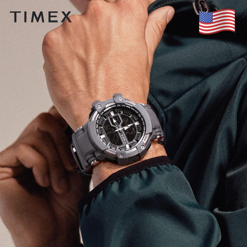 美国TIMEX/天美时手表男户外运动智能多功能树脂带电子表学生表