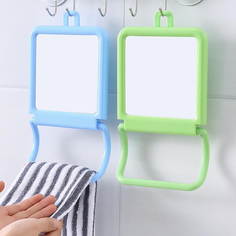 還不晚 簡約壁掛臺式化妝鏡兩用鏡浴室梳妝鏡臺鏡可掛毛巾鏡子