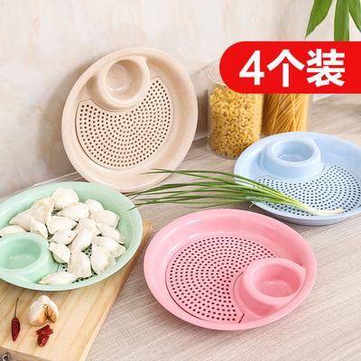 3个欧式子母盘子塑料创意餐具圆形有格带醋碟子水饺子盘酒店菜盘
