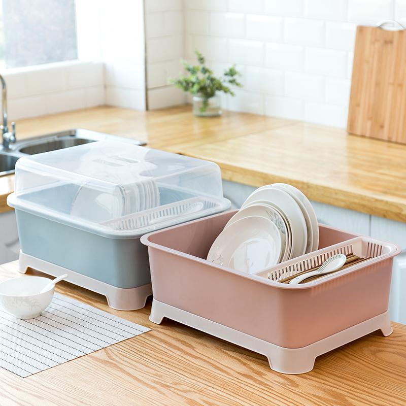 特價版 碗筷收納盒帶蓋瀝水碗碟架特大號裝放盤子餐具置物箱碗柜