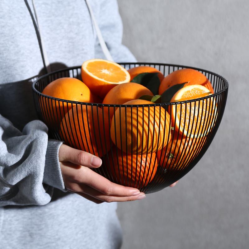 还不晚 北欧铁艺水果篮 创意收纳沥水篮家用客厅茶几果盘镂空果盆