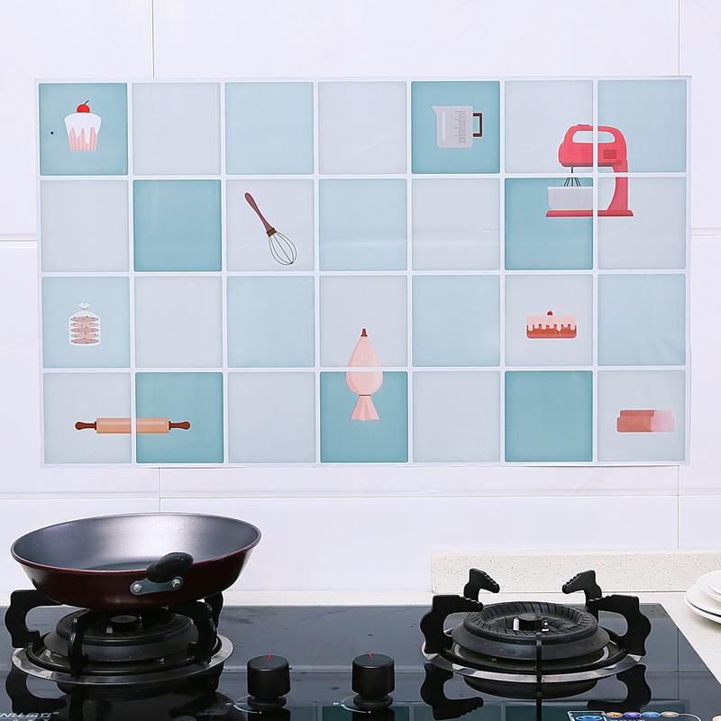 家用厨房贴纸橱柜灶台面用油烟机防油贴防水耐高温瓷砖自粘壁纸墙