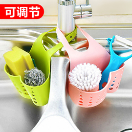 可调节按扣式水龙头收纳挂篮沥水篮厨房用品水槽置物架海绵沥水架图片