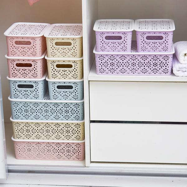 家用镂空内衣袜子有盖盒子收纳盒塑料衣柜装放内裤文胸罩的整理箱