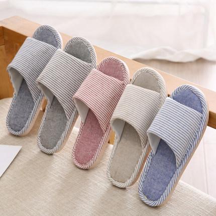 成人亚麻拖鞋夏季家用室内居家鞋时尚居家外穿棉麻鞋平底厚底凉拖