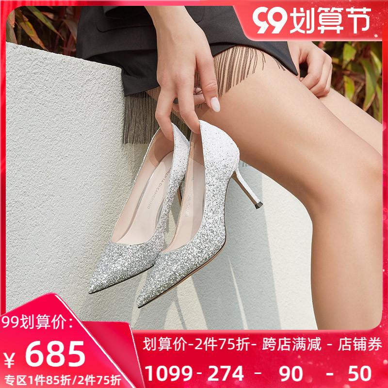 Roberta诺贝达女鞋春专柜同款优雅渐变晚宴婚细高跟RS07212