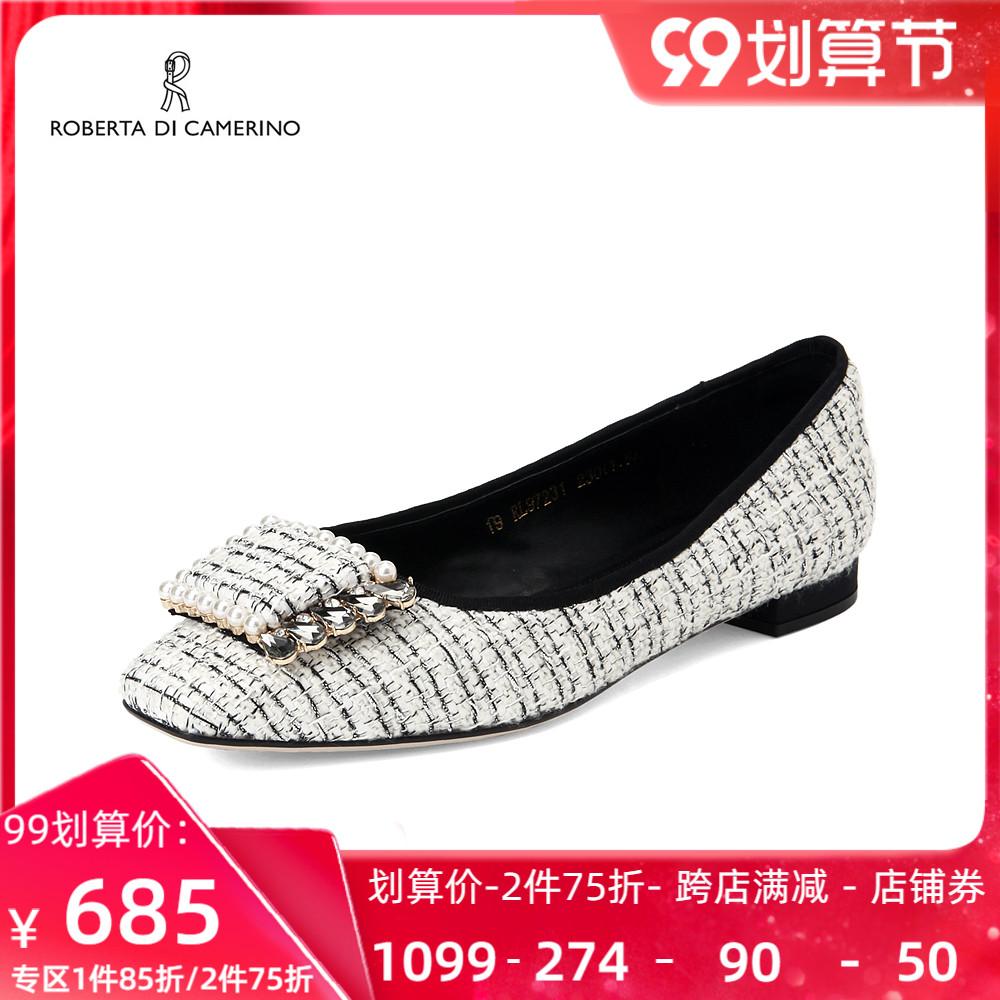 Roberta诺贝达休闲女鞋新品舒适平底通勤时尚单鞋珍珠低跟RL97231